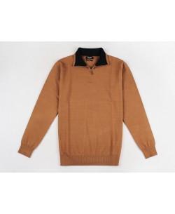 YE-6738-56 High zip neck camel jumper