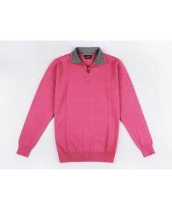 YE-6738-57 High zip neck fuchsia jumper