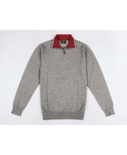YE-6738-58 High zip neck grey jumper