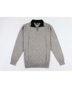 YE-6738-59 High zip neck grey jumper