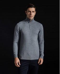 YE-6738-60 High zip neck metal grey jumper