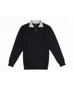 YE-6738-62 High zip neck navy blue jumper