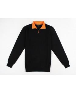 YE-6738-63 High zip neck navy blue jumper