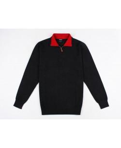 YE-6738-64 High zip neck navy blue vintage jumper