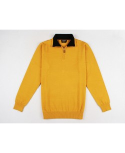 YE-6738-66 High zip neck mustard jumper