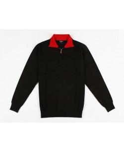YE-6738-69 High zip neck black vintage jumper