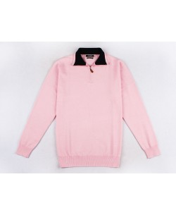 YE-6738-70 High zip neck pink jumper