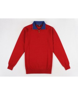 YE-6738-71 High zip neck red jumper