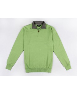 YE-6738-72 High zip neck green jumper