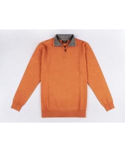 YE-6738-73 High zip neck orange jumper