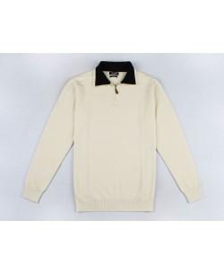 YE-6738-74 High zip neck ivory jumper