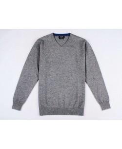 YE-6745-60 V-neck metallic grey jumper