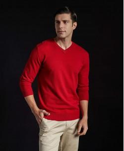 YE-6745-71 V-neck red jumper