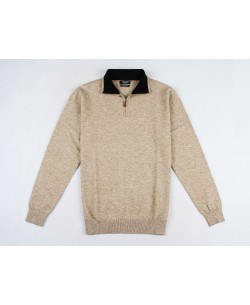 GT38-50 High zip neck beige 2XL to 5XL jumper