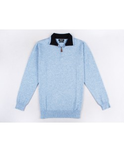 GT38-51 High zip neck sky blue jumper 2XL to 5XL