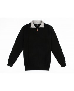 GT38-68 High zip neck black jumper 2XL to 5XL