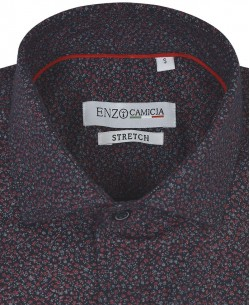 T06-1 Navy blue stretch shirt PROVINS red prints slim fit