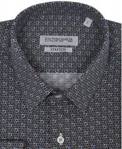 T09-4 Navy blue stretch shirt CALEDONIA prints slim fit