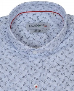 T08-1 White stretch shirt NAPOLITAIN prints slim fit