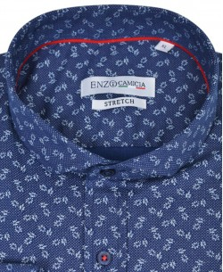 T08-3 Navy blue stretch shirt NAPOLITAIN prints slim fit