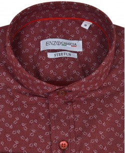 T08-4 Red burgundy stretch shirt NAPOLITAIN prints slim fit