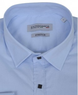 T14-3 Slim fit sky blue stretch shirt with snap buttons