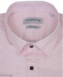 T14-4 Slim fit pink stretch shirt with snap buttons