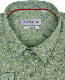 T05-3 Green stretch shirt TEDDY prints slim fit