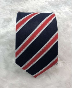 CRHQ-56 Dark blue/red slim stripes tie