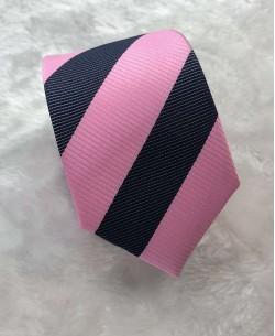 CRHQ-58 Dark blue/pink slim big stripes tie