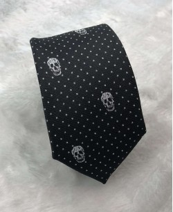 CRHQ-63 Black slim tie SKULL prints