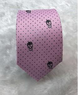 CRHQ-66 Pink slim tie SKULL prints