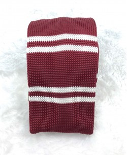 CR-04A Red/white knitted tie