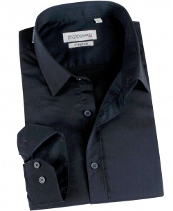 ENZO-021-3 Navy blue STRETCH shirt slim fit