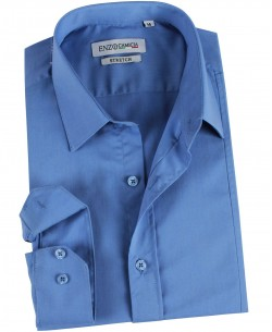 ENZO-021-4 Blue stretch shirt slim fit