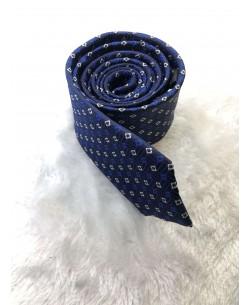 CRHQ-84 Blue slim tie PLAZA prints