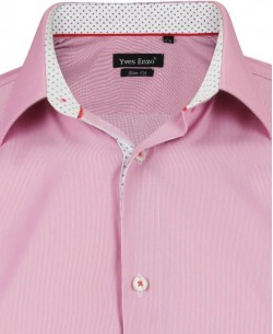 SLIM5182-4 Pink striped shirt spread collar slim fit