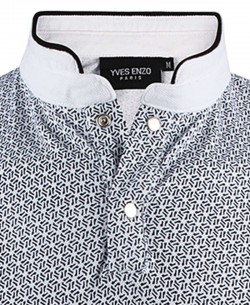YE-8828-1 White FLY prints polo mandarin collar