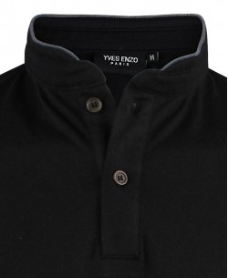 YE-8832-4 black polo mandarin collar