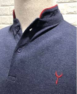 YE-8833-2 Navy blue polo mandarin collar with logo