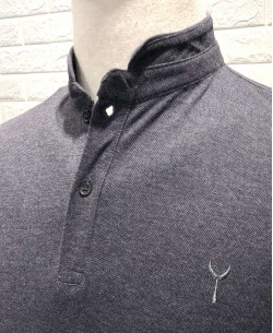 YE-8833-5 Gris polo mandarin collar with logo