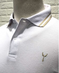 YE-8834-1 White polo twin tipped logo