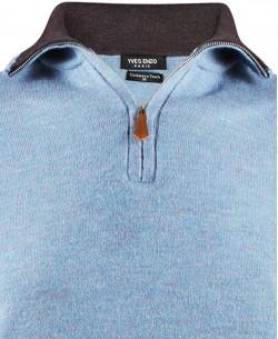 YE-6738-21 High zip necksky blue pétrole jumper