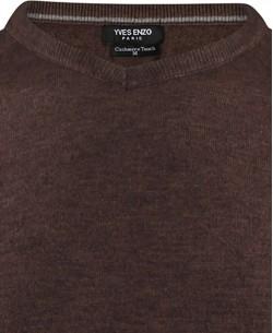 YE-6739-19 V-neck tobacco jumper