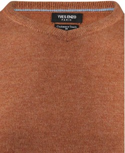 YE-6739-23 V-neck bronze vintage jumper