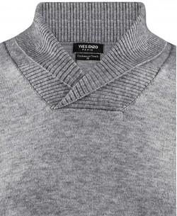 YE-6740-6 Shawl neck grey vintage jumper