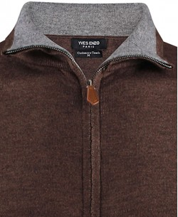 YE-6742-19 Tobacco knitted zip