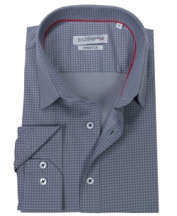 T02-4  Grey stretch printed shirt slim fit