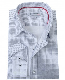 T02-5 White stretch printed shirt slim fit