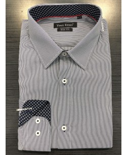 SLIM5182-2 dark blue striped shirt spread collar slim fit